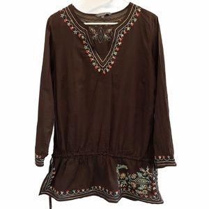 Additionelle embroidered beaded long sleeve shirt